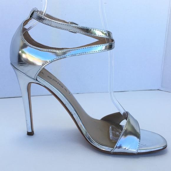 41a0392491e Via Spiga Stilleto 6.5 Ankle Strap Heel Silver